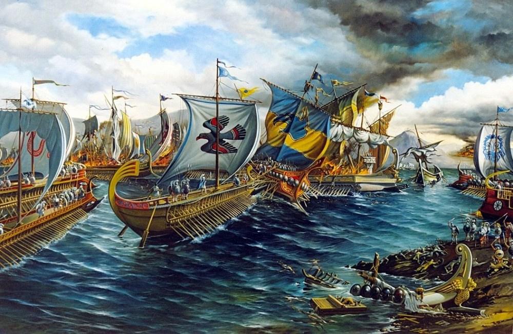 Navios gregos em Salamina