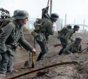 German troops of the 6th Army move into the suburbs of Stalingrad, late Sept 1942. DRAMATIC photographs from the Battle of Stalingrad have been brought to life in colour to mark the seventy-fifth anniversary of this critical defeat of Hitler's Nazi's during WW2. The colourised pictures show a soviet soldier victoriously hoisting a flag over the city of Stalingrad, German troops of the 6th Army making their move into the suburbs of Stalingrad, in 1942. One photograph reveals the more heart-breaking truth about the consequence of the battle with an Italian driver of a FIAT truck lying dead on the snowy ground in Stalingrad. Another shows the coloured portrait of Ivanov Alexei, a young scout who participated in the defence of Stalingrad and was awarded the medal for the Defence of Stalingrad in 1943. The various momentous photographs were colourised by German and Russian translator, Olga Shirnina, from Moscow, Russia. Olga Shirnina / mediadrumworld.com
