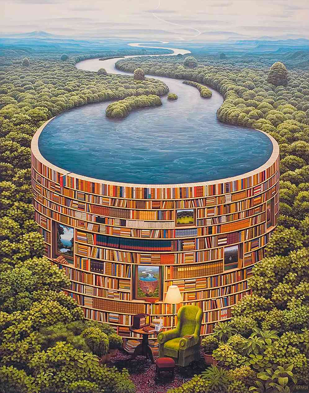 Jacek-yerka-shelves-of-books-also-known-as-bibliotama-